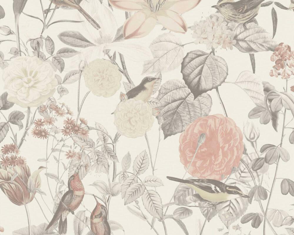 A.S. Création Tapete Landhaus, Blumen, Grau, Rosa 372762