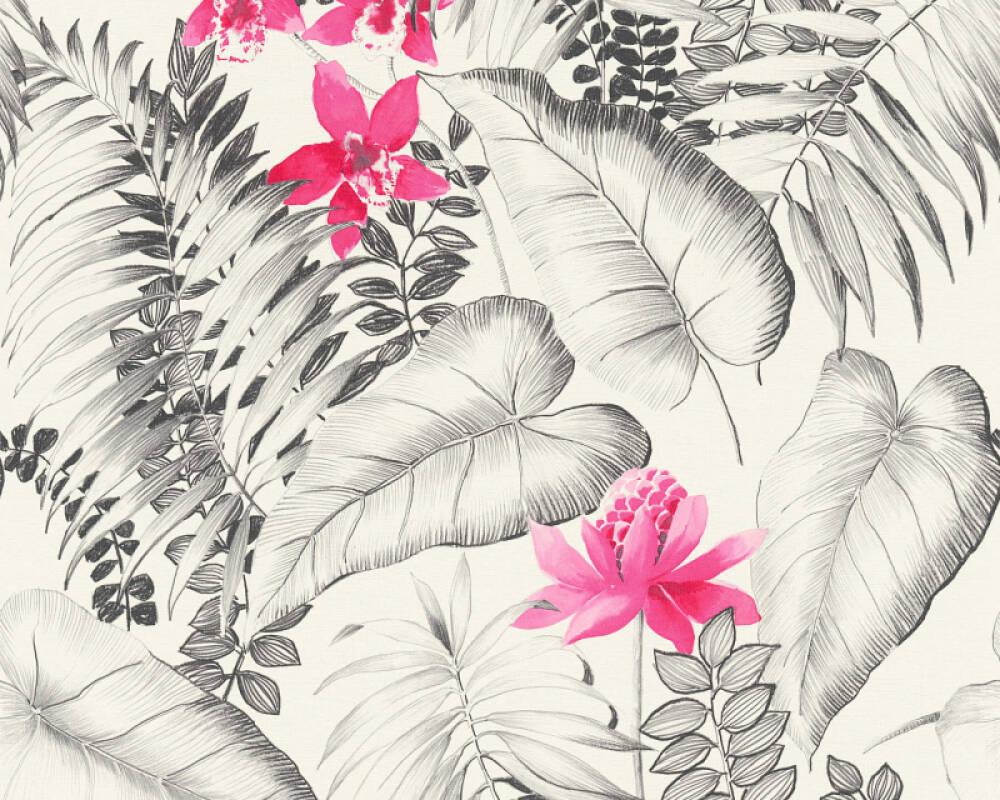 A.S. Création papier peint Maison, Fleurs, gris, noir, rose, rouge 372791