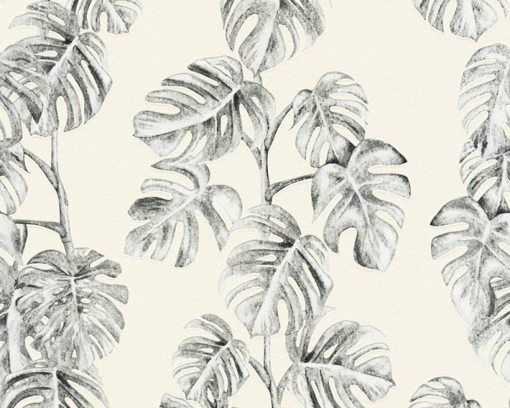 A.S. Création papier peint Jungle, blanc, gris, noir 372812