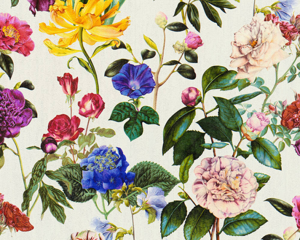 A.S. Création Wallpaper Flowers, Blue, Coloured, Green, Grey 373361