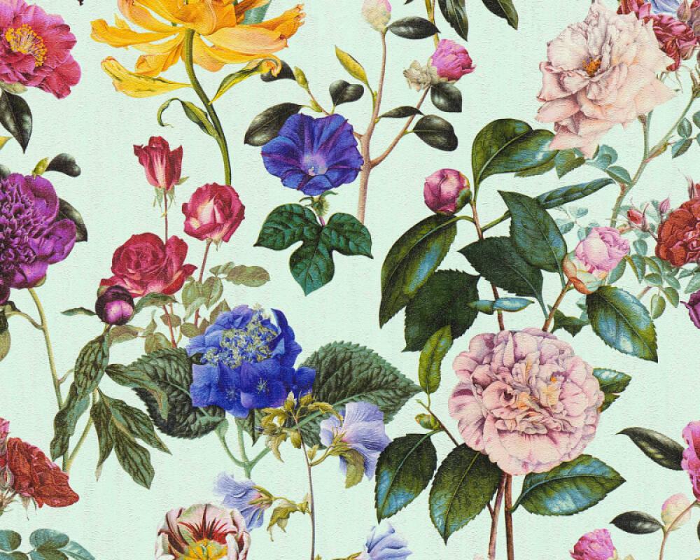 A.S. Création papier peint Fleurs, bleu, jaune, rose, rouge 373362