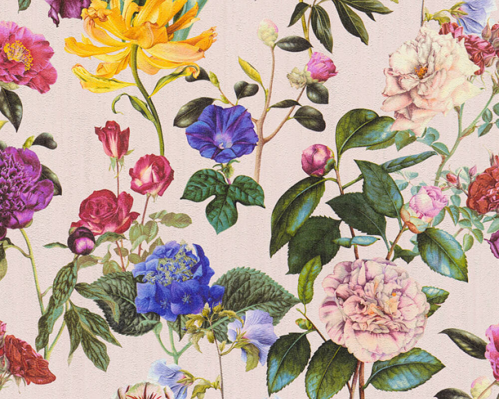A.S. Création Wallpaper Flowers, Blue, Coloured, Green, Pink 373363