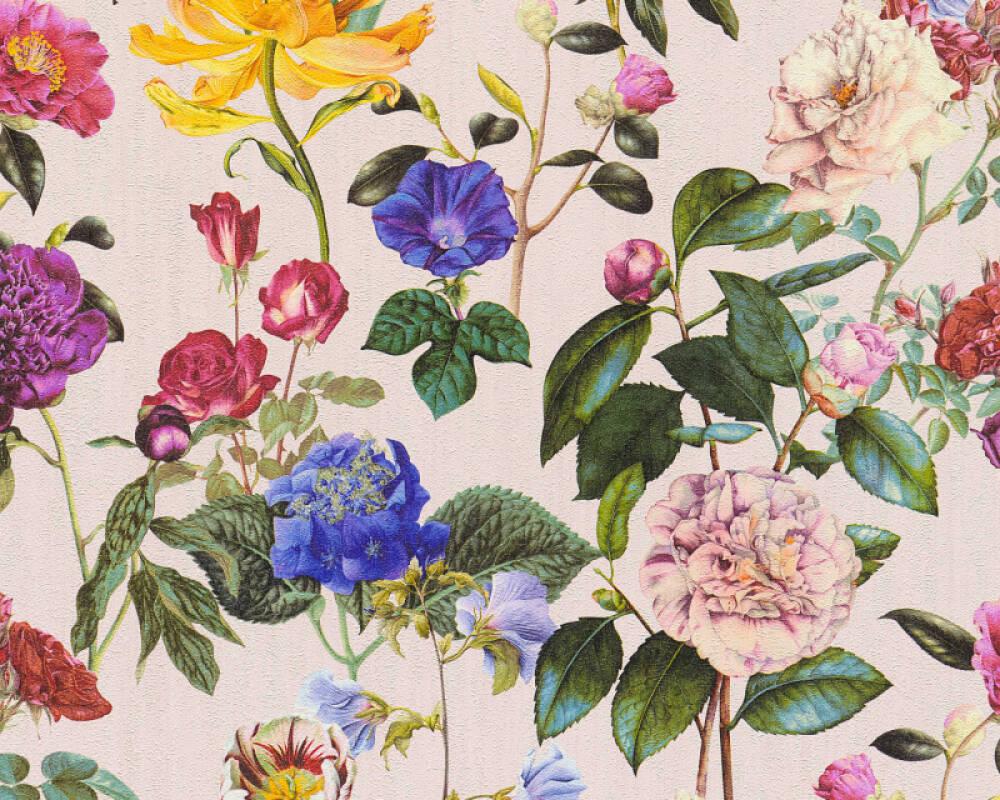A.S. Création papier peint Fleurs, bleu, jaune, multicolore, rose 373363