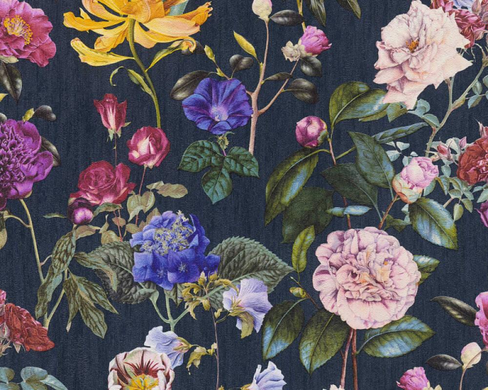 A.S. Création Tapete Blumen, Blau, Gelb, Grün, Rosa 373364