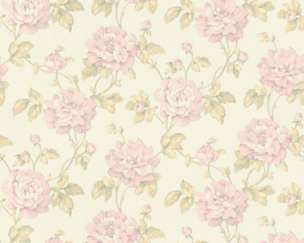 A S Creation Wallpaper Floral Green Pink White 373381