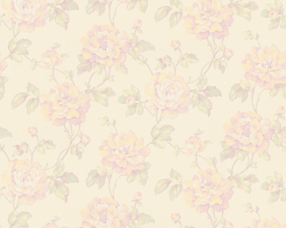 A.S. Création Wallpaper Floral, Cream, Green, Purple, Yellow 373384
