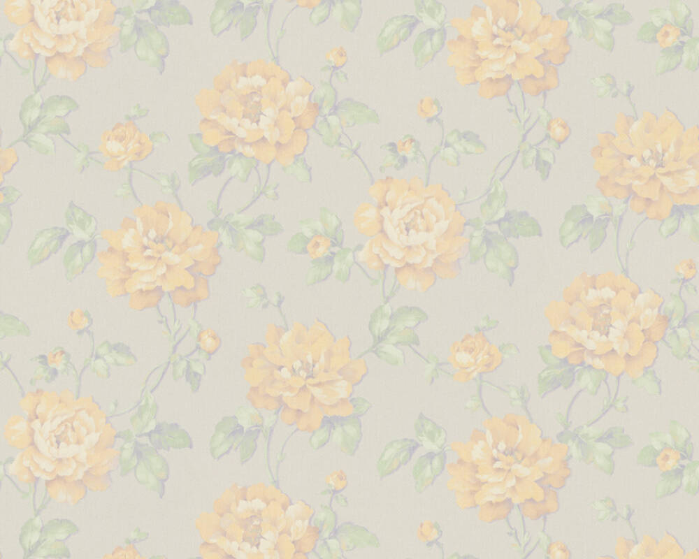 A.S. Création Wallpaper Floral, Green, Grey, White, Yellow 373385