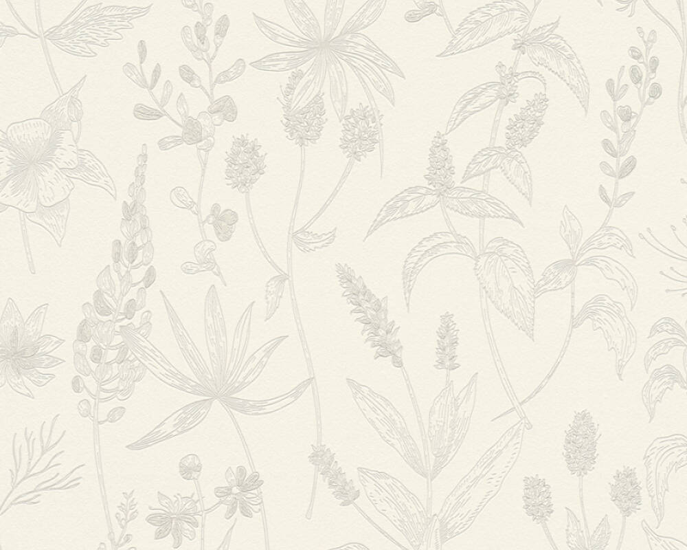 A.S. Création Wallpaper Cottage, Floral, Beige, Metallic, White 373631