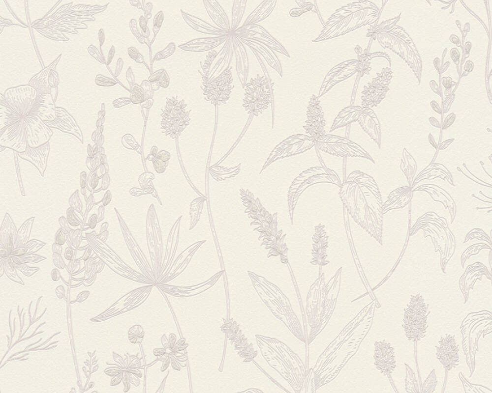 A.S. Création papier peint Maison, Floral, blanc, métallique, rose 373632