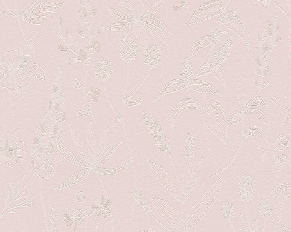 A.S. Création Wallpaper Cottage, Floral, Metallic, Pink, White 373633