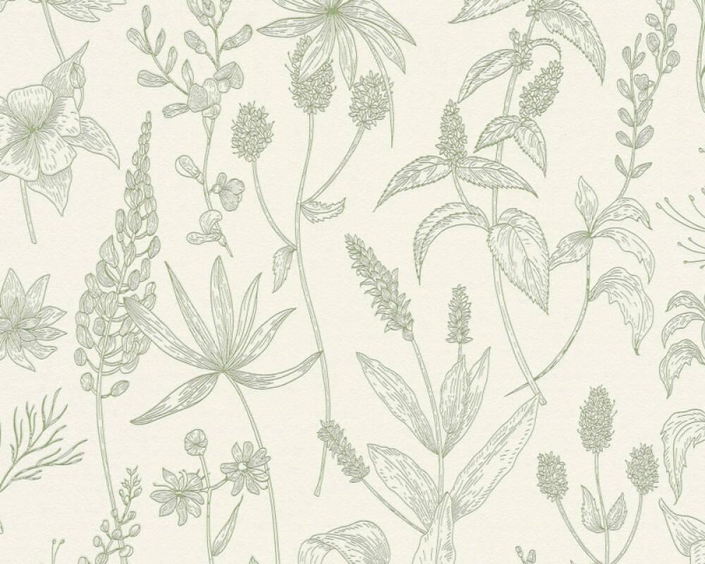 A.S. Création papier peint Maison, Floral, blanc, métallique, vert 373635