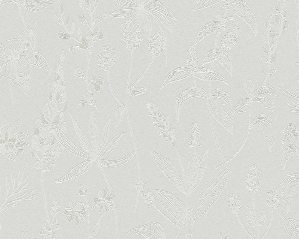 A.S. Création papier peint Maison, Floral, blanc, gris, métallique 373636