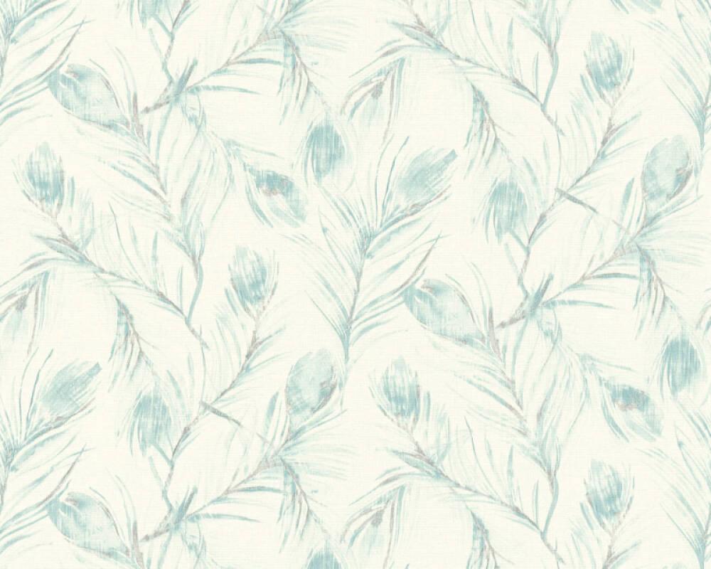 A.S. Création papier peint Floral, argent, blanc, bleu, crème 373671