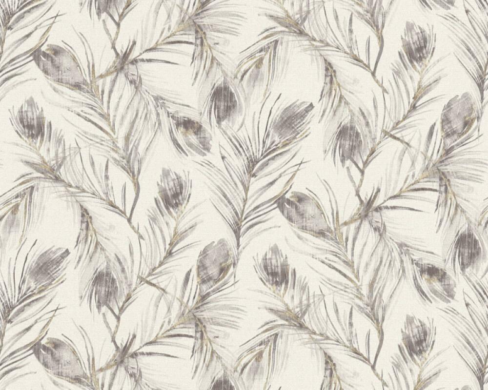 A.S. Création papier peint Floral, gris, métallique, or 373674