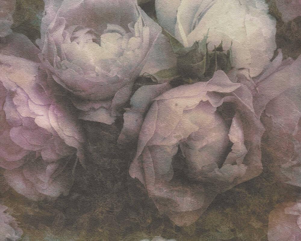 Livingwalls Tapete Blumen, Grau, Violett, Weiß 373922