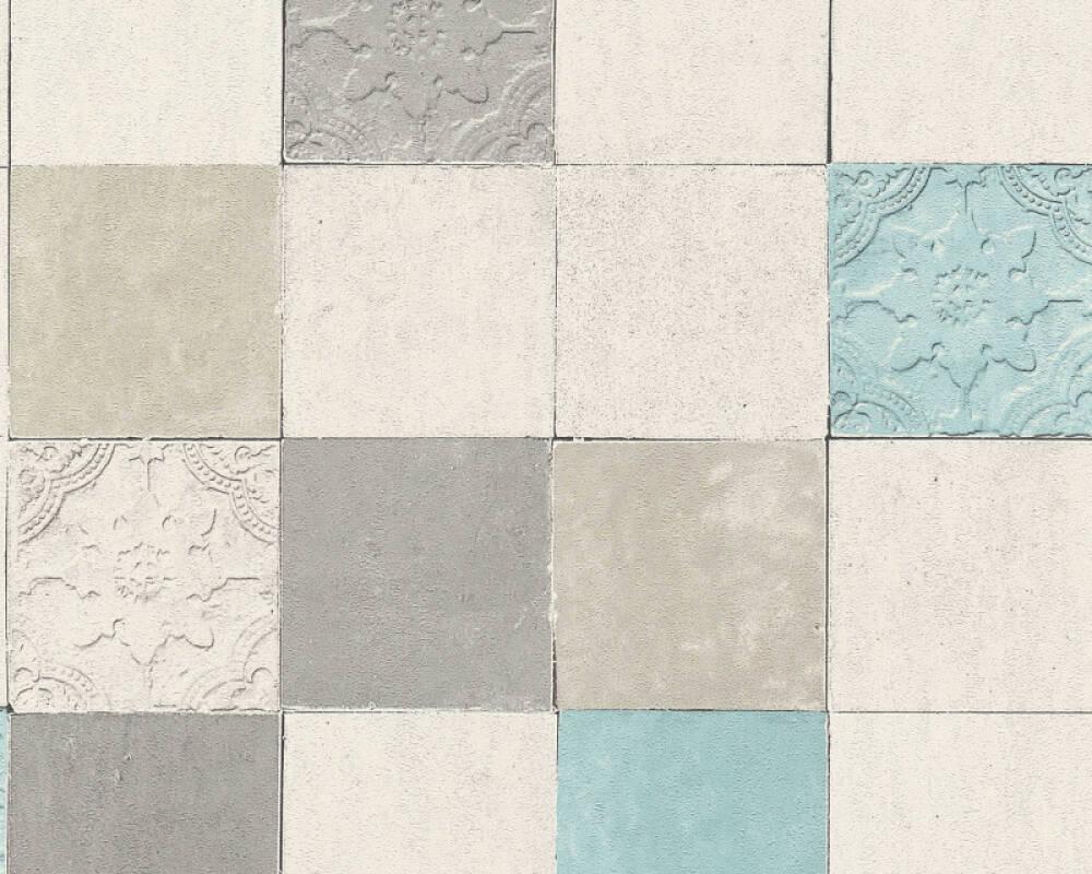 Livingwalls Обои Под плитку, Белые, Бирюзовые, Кремовые, Серыe 374061