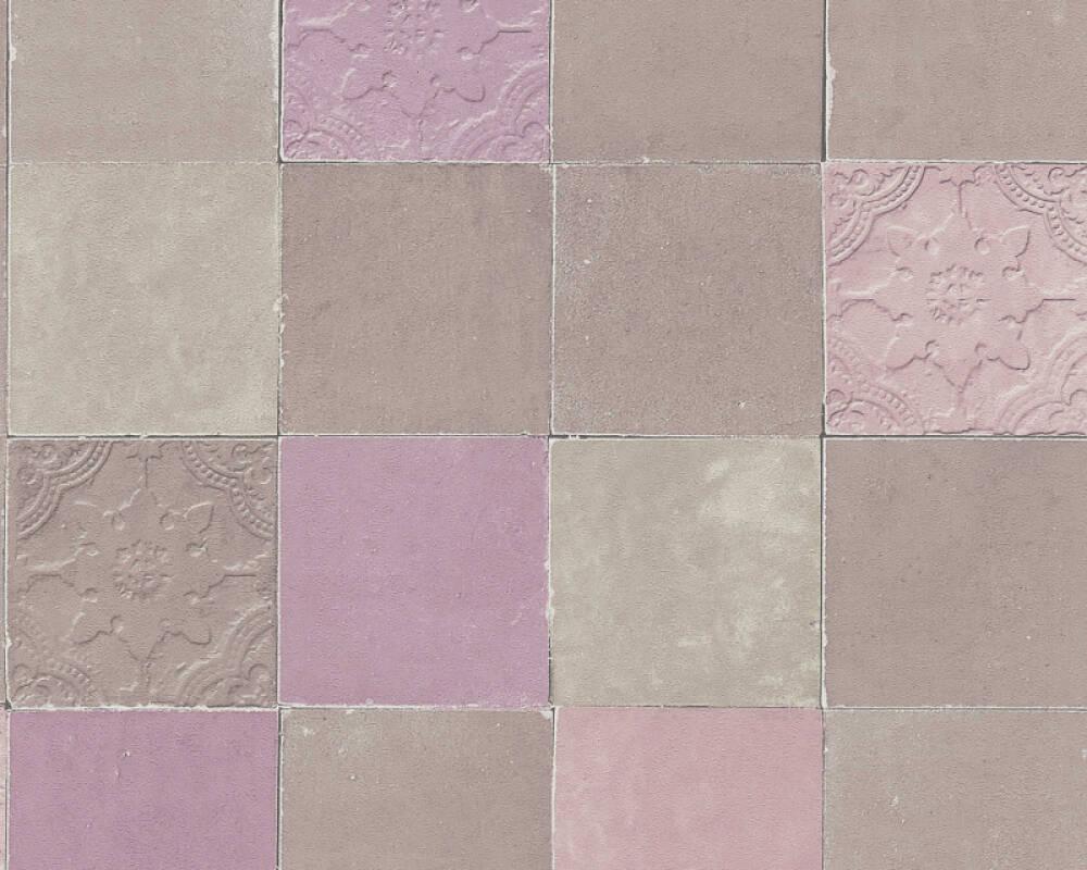 Livingwalls Wallpaper Tile, Beige, Grey, Purple, Taupe 374062