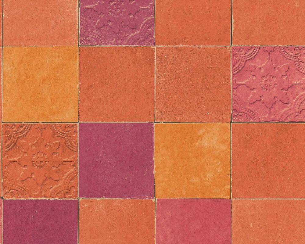 Livingwalls papier peint Tuile, orange, rouge 374065