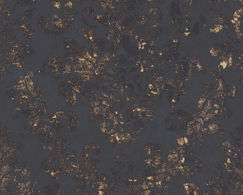 A.S. Création papier peint Baroque, métallique, noir, or 374132