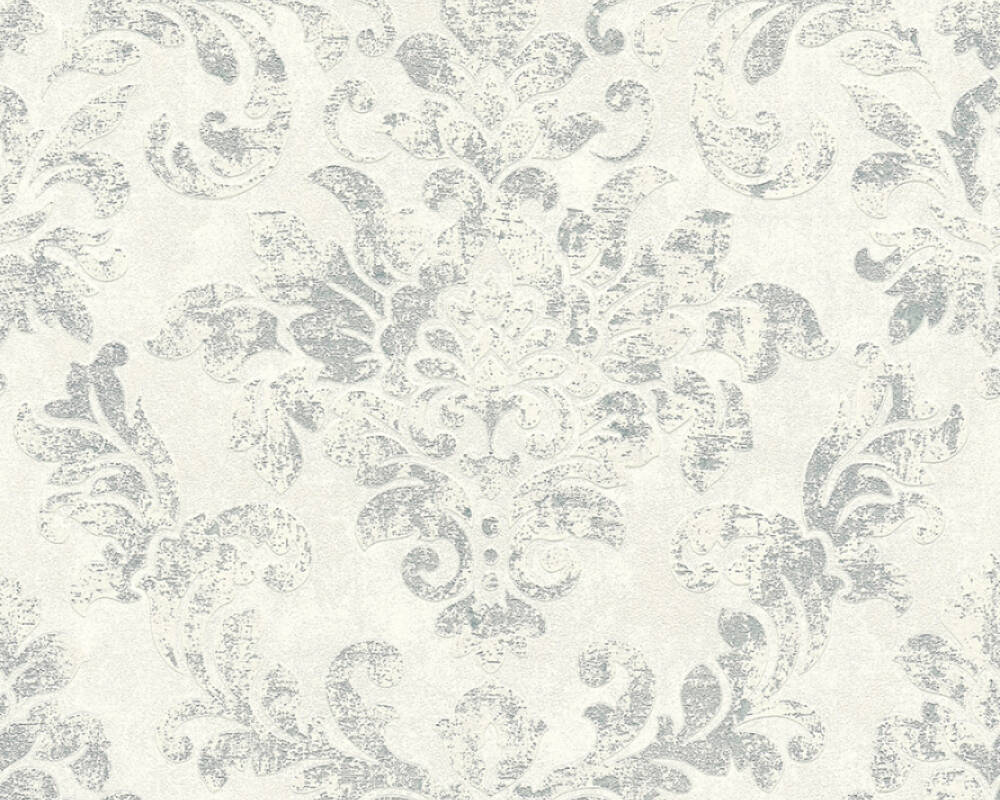 A.S. Création Wallpaper Baroque, Grey, Metallic, Silver, White 374134