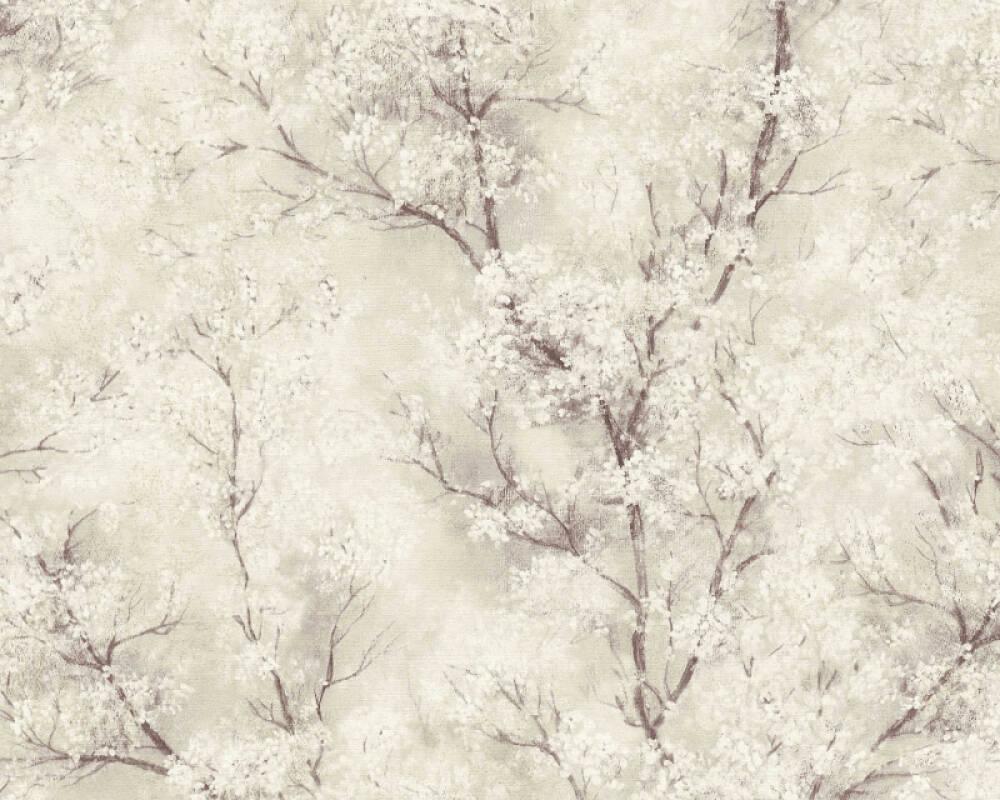 Livingwalls Tapete Floral, Creme, Gold, Grau, Weiß 374202