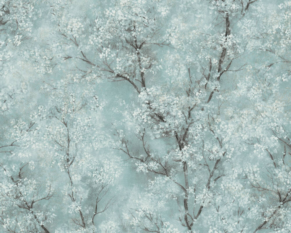 Livingwalls Tapete Floral, Blau, Gold, Grau, Grün 374203