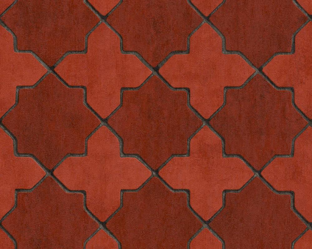 Livingwalls Tapete Fliesen, Grau, Rot, Schwarz 374211