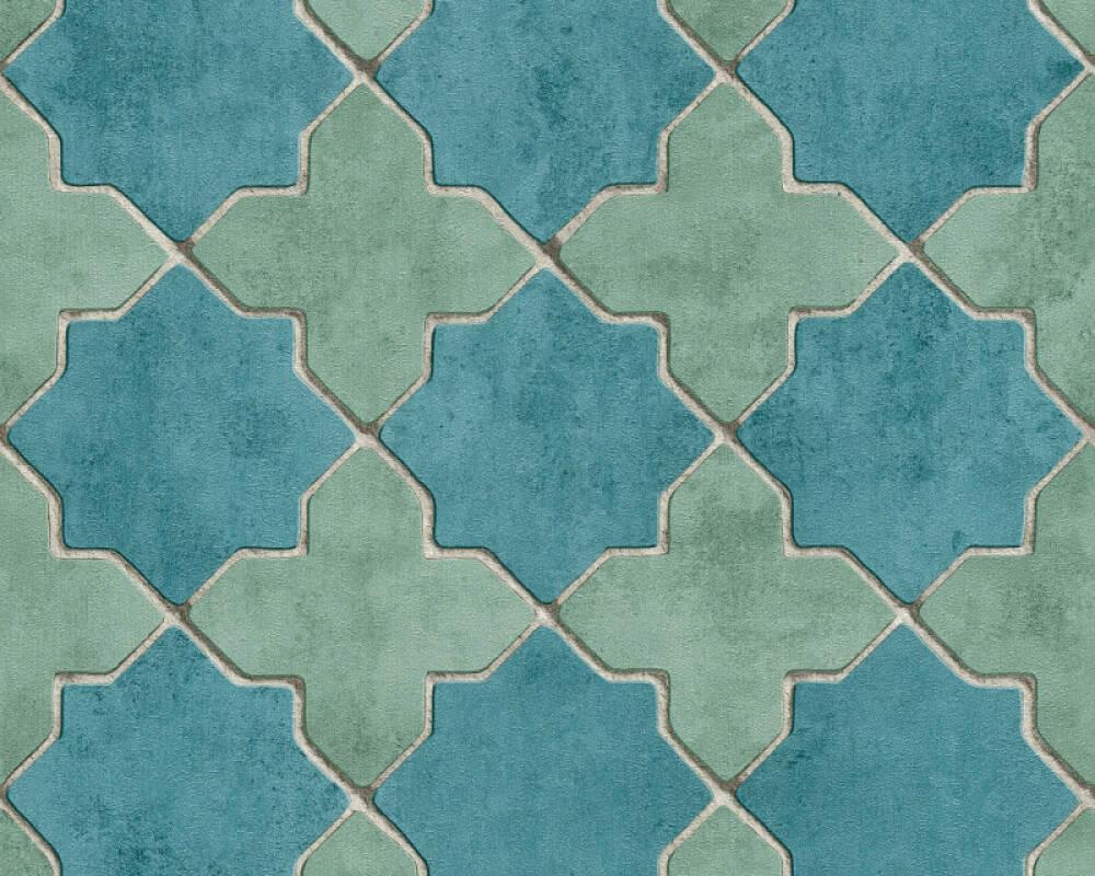Livingwalls papier peint Tuile, beige, bleu, crème, gris 374214