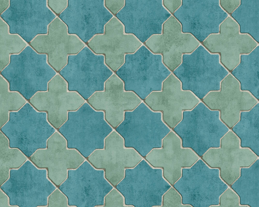 Livingwalls Tapete Fliesen, Beige, Blau, Creme, Grau 374214