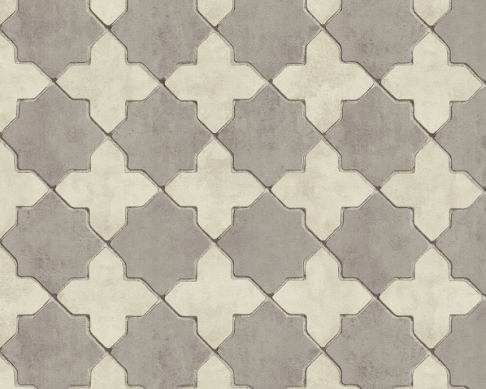 Livingwalls Wallpaper Tile, Cream, Grey 374215