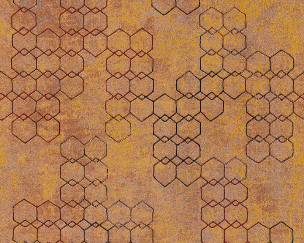 Livingwalls Tapete Grafik, Braun, Kupfer, Metallics, Orange 374243