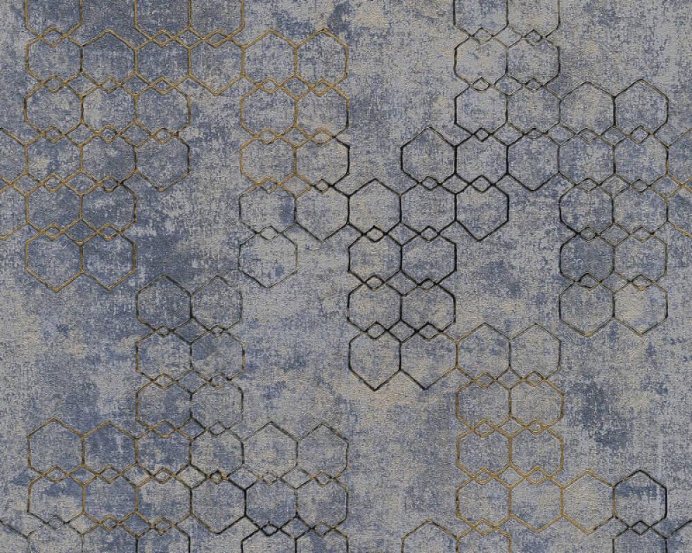 Livingwalls Tapete Grafik, Blau, Gold, Grau, Metallics 374245