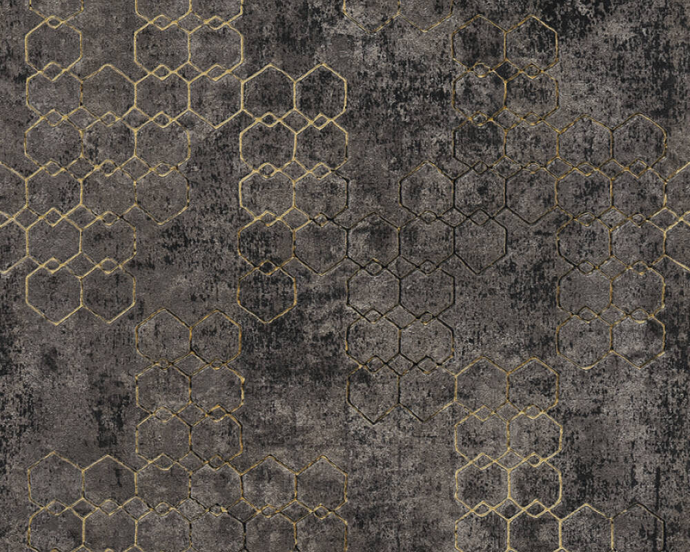 Livingwalls papier peint Graphique, métallique, noir, or 374246