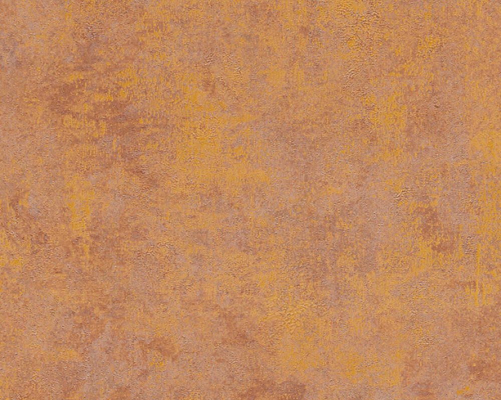 Livingwalls Tapete Uni, Braun, Gold, Metallics, Orange 374253