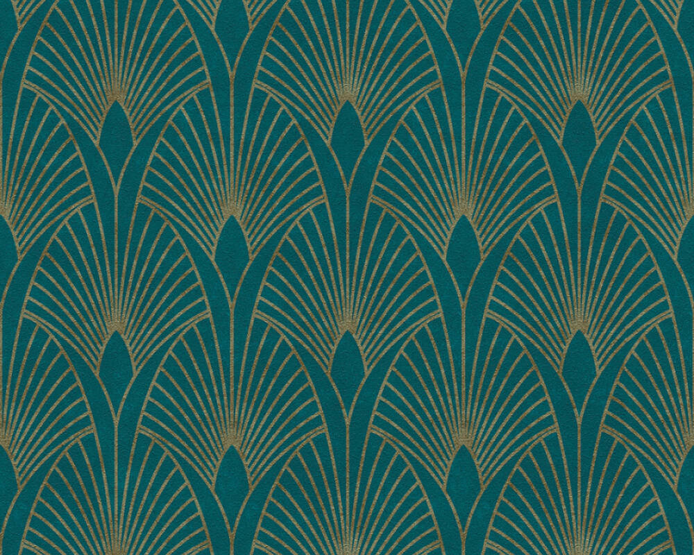 Livingwalls Wallpaper Baroque, Blue, Gold, Green, Metallic 374275