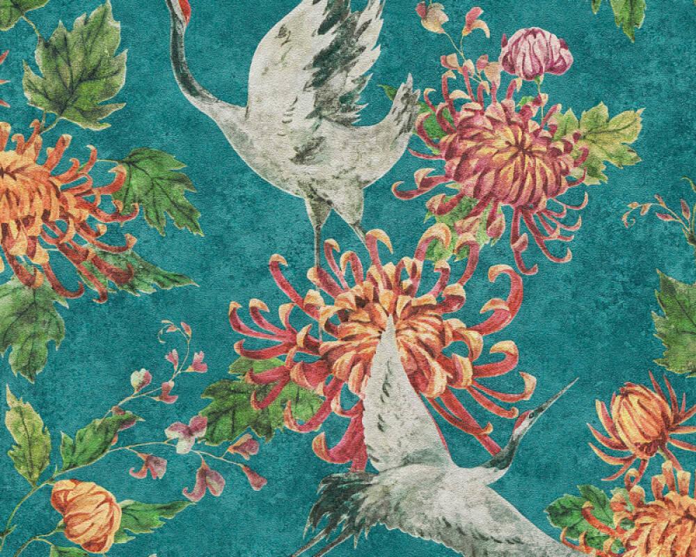 A.S. Création Wallpaper Floral, Blue, Green, Grey, Orange 374641