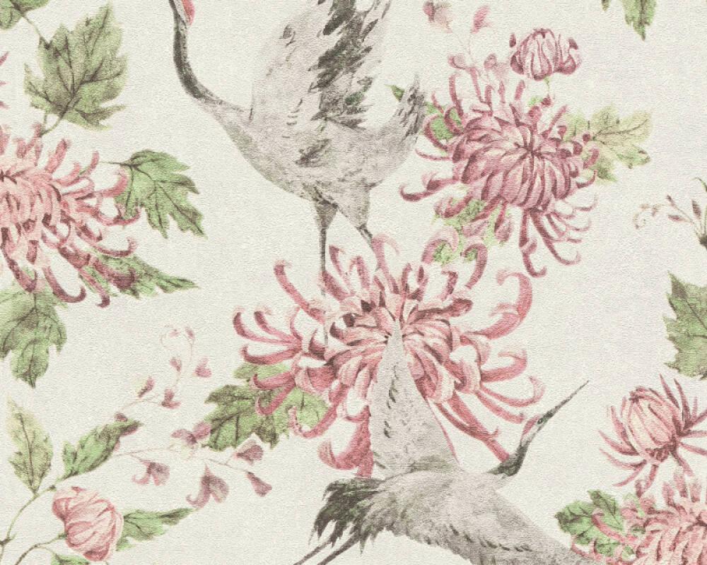 A.S. Création Tapete Floral, Grau, Grün, Rosa, Weiß 374642