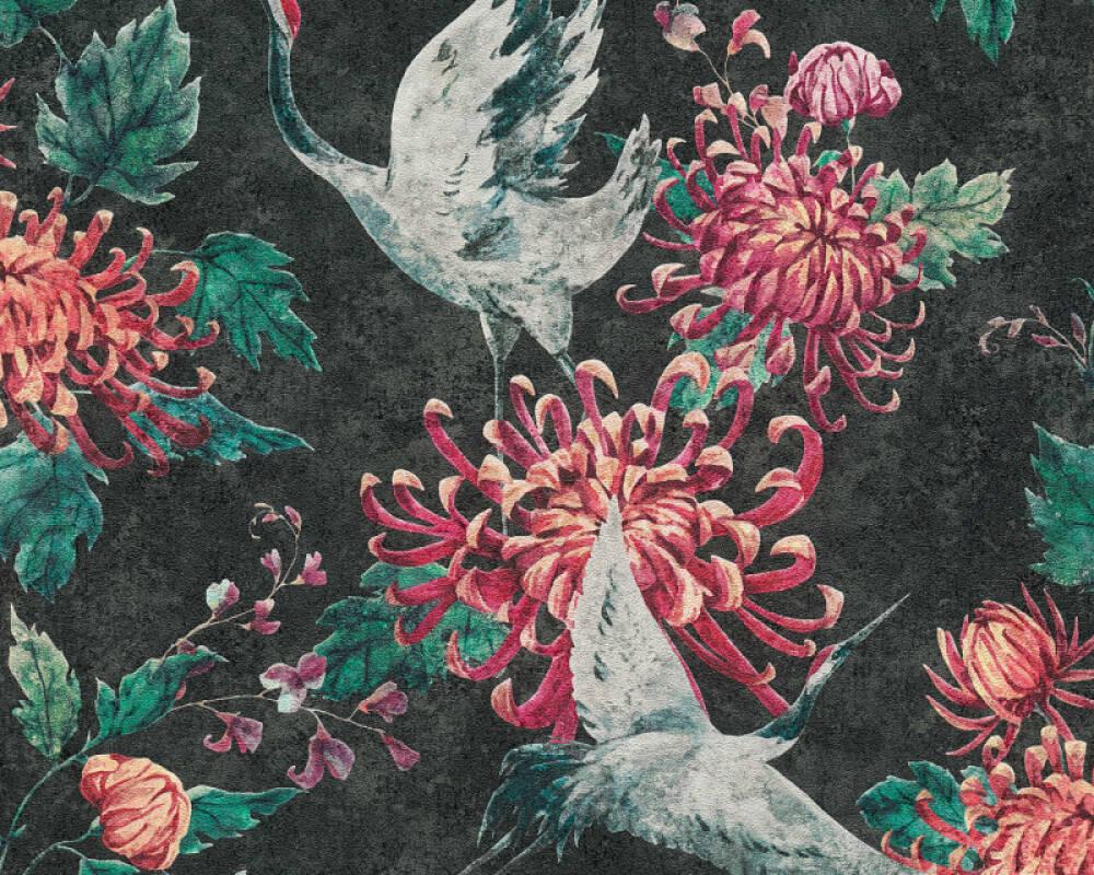 A.S. Création Tapete Floral, Grau, Grün, Rot, Schwarz 374643