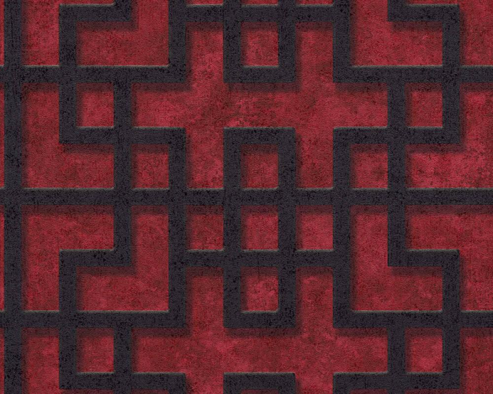 A.S. Création papier peint Graphique, 3D, noir, rouge 374652