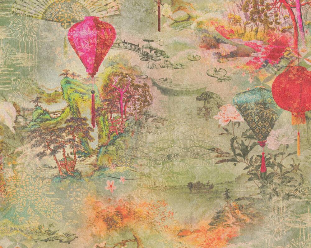 A.S. Création papier peint Floral, beige, jaune, marron, orange 374661