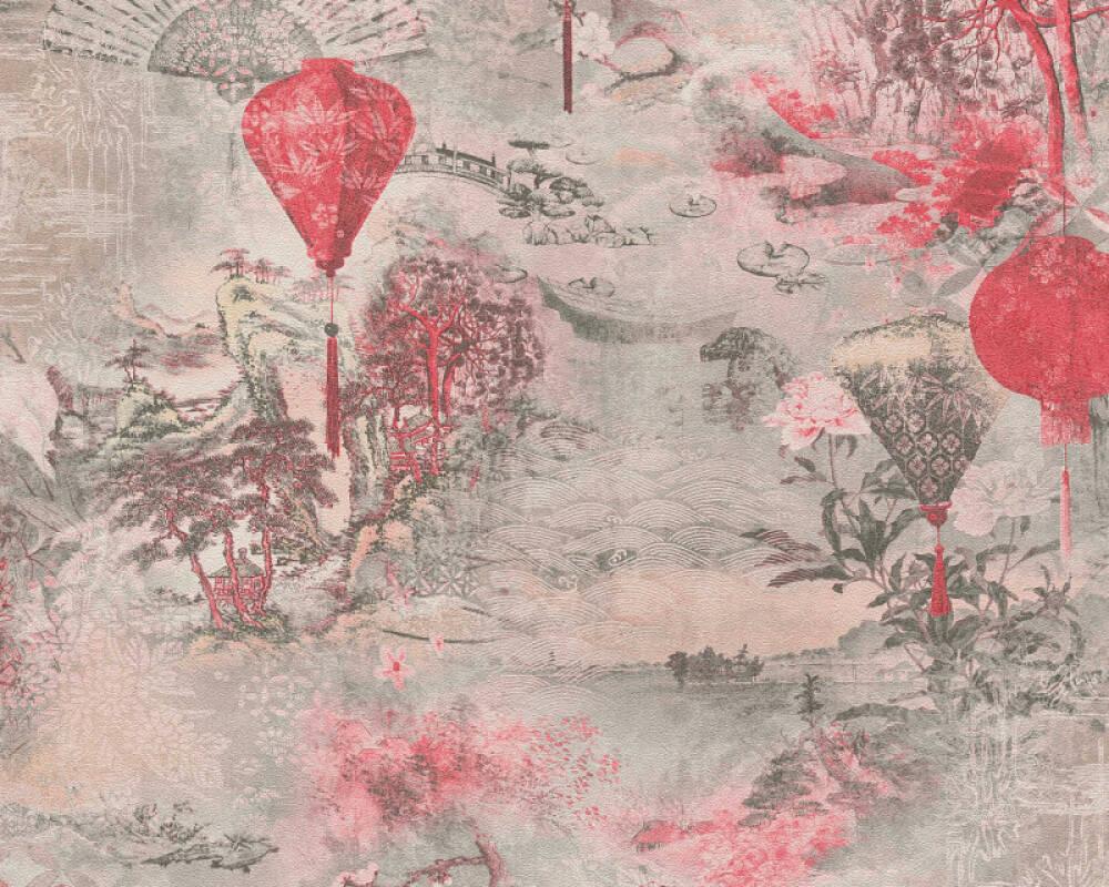 A.S. Création Tapete Floral, Grau, Rosa, Rot, Schwarz 374662