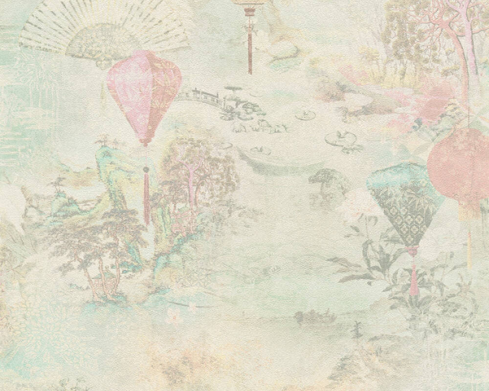A.S. Création Wallpaper Floral, Beige, Cream, Green, Pink 374663