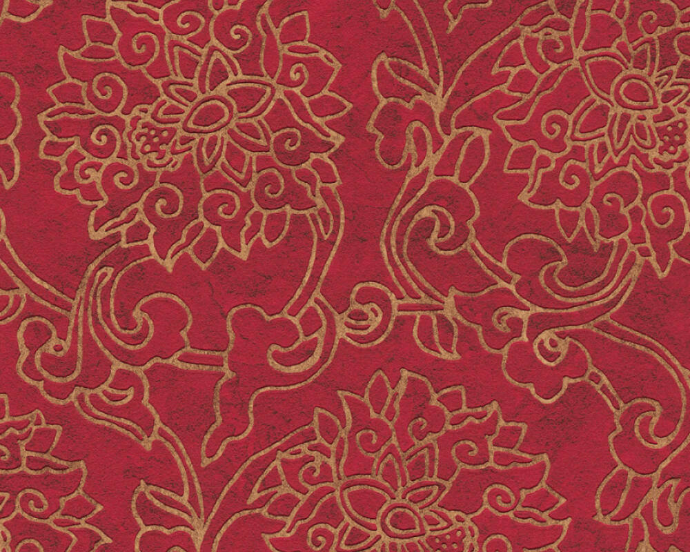 A.S. Création Wallpaper Floral, Bronze, Gold, Metallic, Red 374701