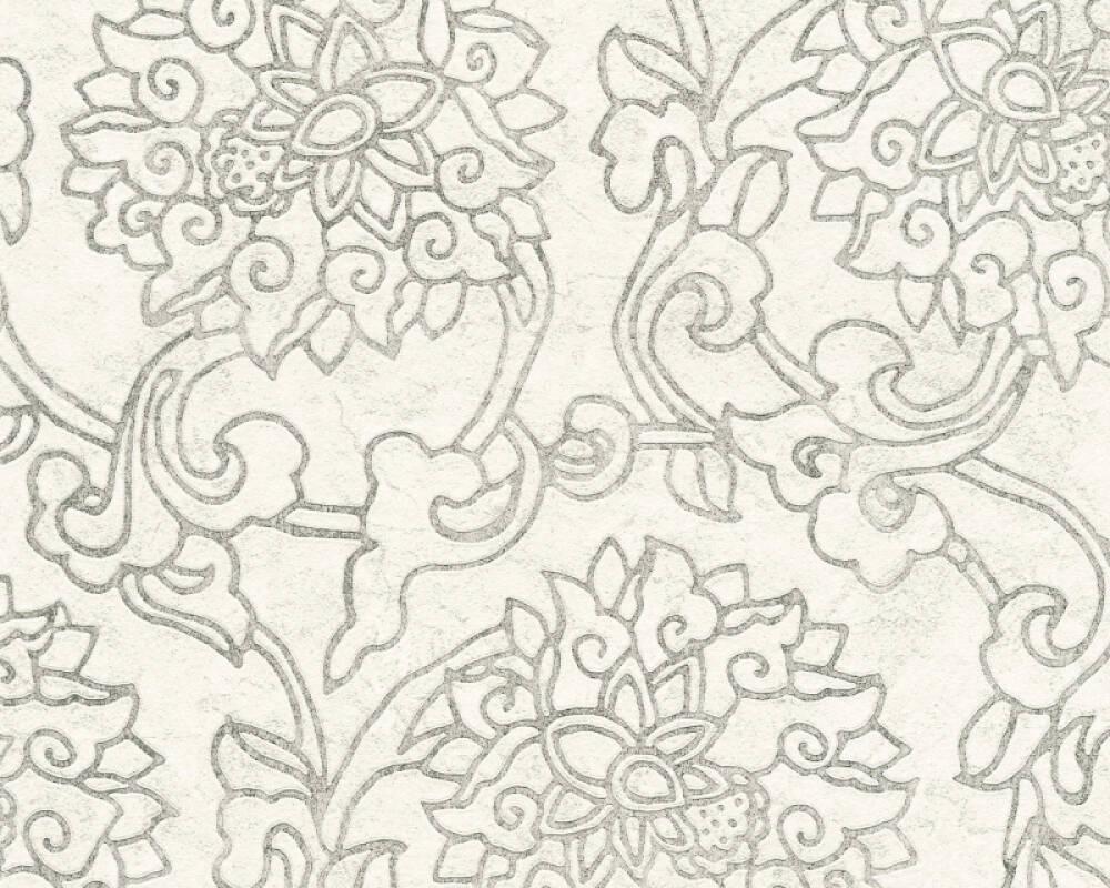 A.S. Création Wallpaper Floral, Cream, Grey, Metallic, Silver 374702