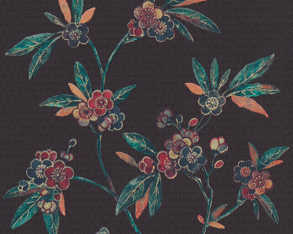 A.S. Création Tapete Grafik, Floral, Beige, Blau, Gelb, Gold 374721
