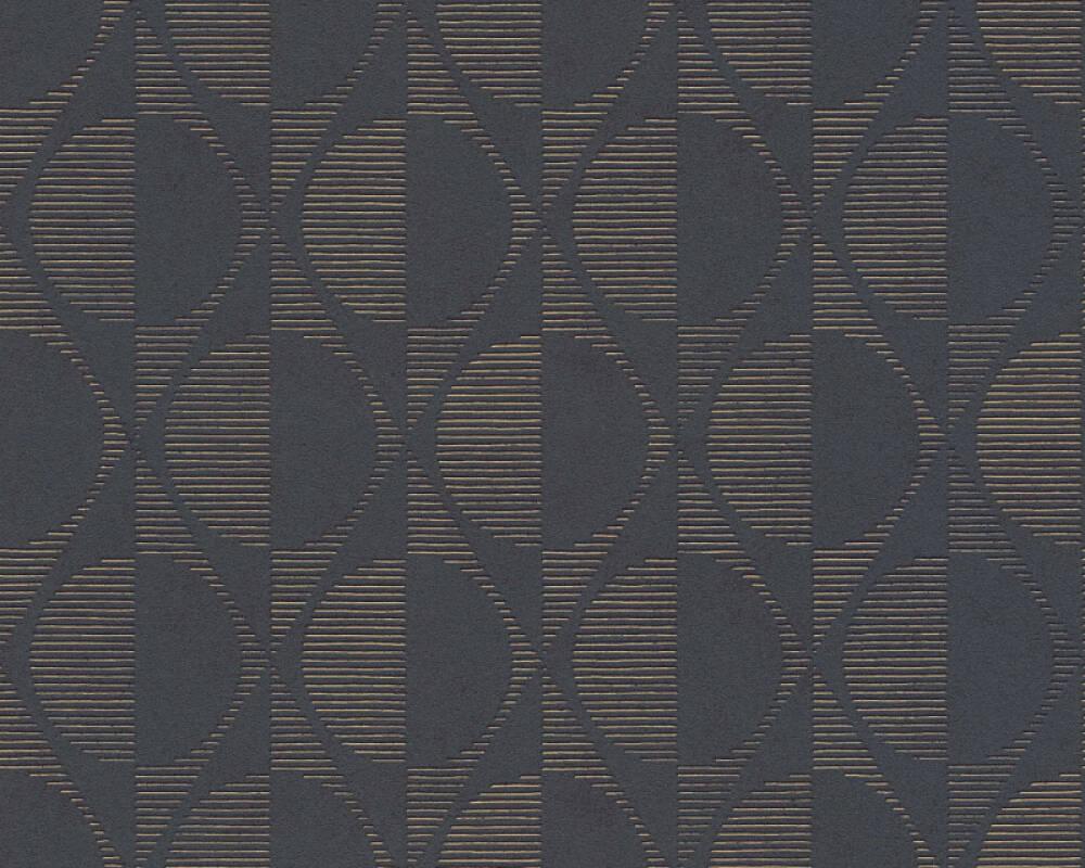 A.S. Création papier peint Graphique, métallique, noir, or 374781