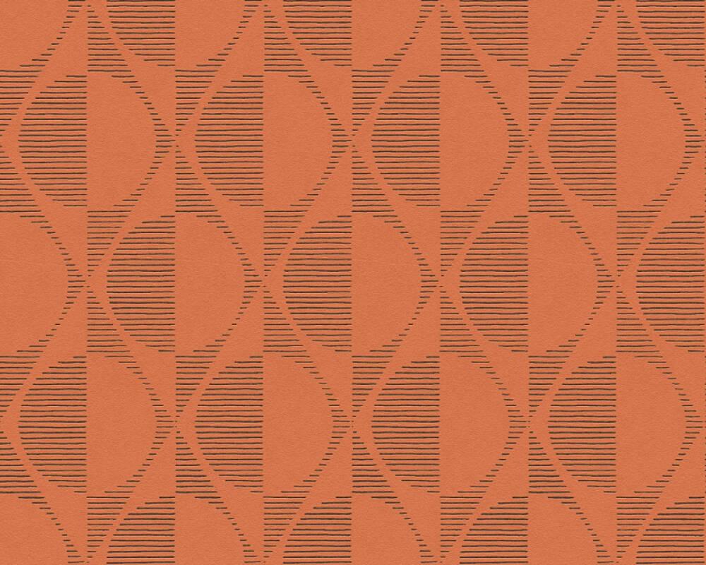 A.S. Création papier peint Graphique, noir, orange 374784