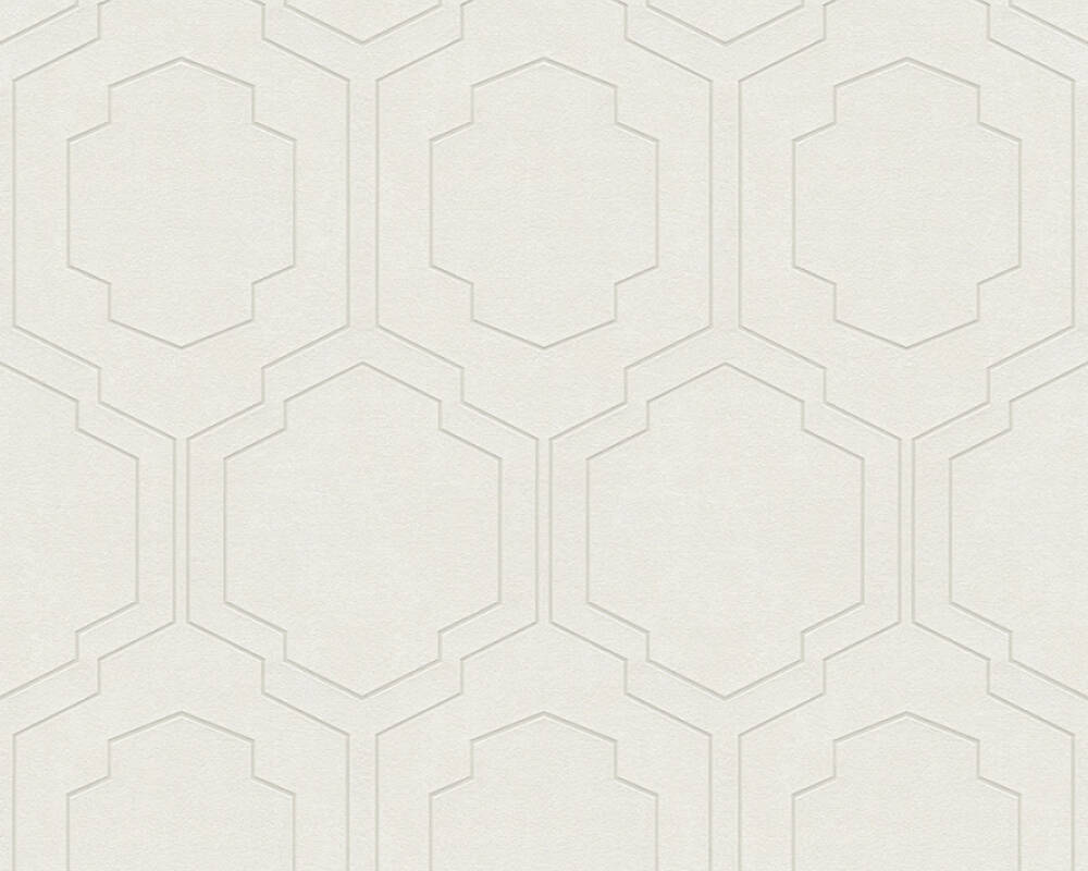 A.S. Création Wallpaper Graphics, Beige, Cream, Metallic, Silver 374791