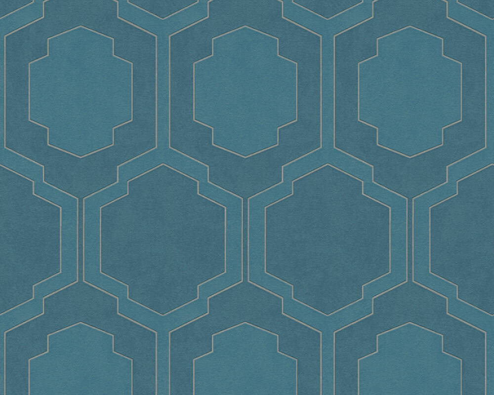 A.S. Création Wallpaper Graphics, Blue, Metallic, Silver 374794