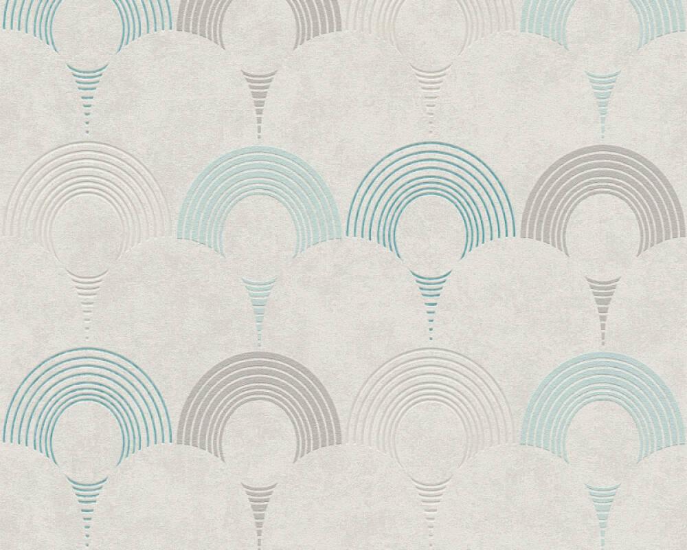 A.S. Création Tapete Grafik, Beige, Blau, Grau, Grün 374804